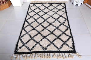 Beni ourain carpet, Moroccan rug 3.2ft x 5.2ft