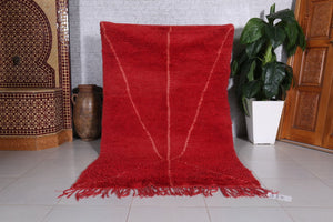 "Moroccan red rug, Hand knotted rug, Red carpet, 4'2"" x 6'6"""