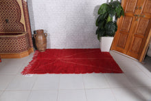 Moroccan red rug, Hand knotted rug, Red carpet, 4'2