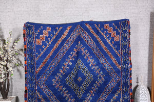 Authentic Blue Beni Ourain Rug 6.4 ft x 13.8 ft