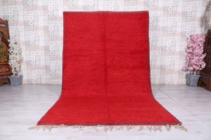 Solid Moroccan red rug, 6.3 FT X 9.8 FT