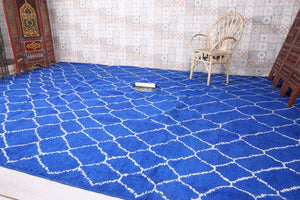 Large Moroccan Blue rug 10.3 FT X 14.5 FT