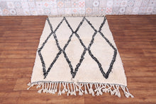 Vintage beni ourain rug,  3.7 FT X 4.9 FT