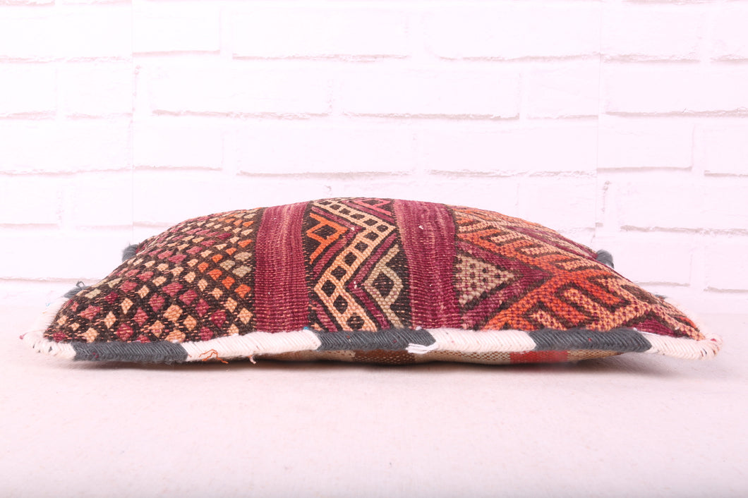 Orange pillow, Kilim pouf, PW238