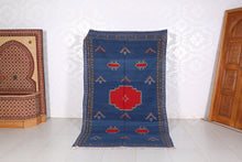 Handwoven Blue Kilim, 4.8 ft x 7.7 ft