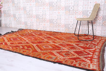 Vintage moroccan rug, 6 ft x 9.1 ft, Orange carpet