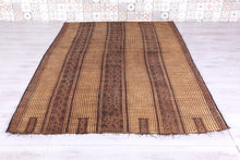 Tuareg Mat Handwoven Reed and Leather Rug (5.7 ft x 8.4 ft)