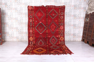 Red moroccan rug 5.8 FT X 9.6 FT