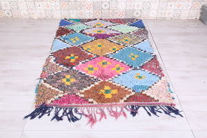 Moroccan Boucherouite rug, 4.3 FT X 6.2 FT, Nice colors