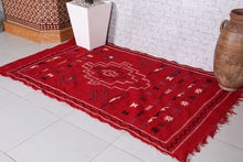 Moroccan rug red 3.8 ft x 6.4 ft