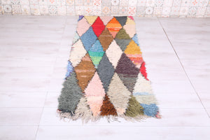 Colorful  boucherouite Azilal rug 2.6 FT X 6.4 FT