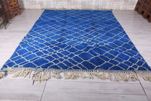 Large Moroccan blue rug 8.1 FT X 11.2 FT