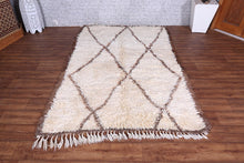 Hand knotted Moroccan rug, 4.6 ft x 7 ft, wool berber carpet