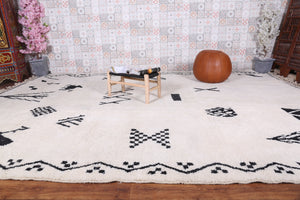 Black and white Moroccan rug 9.9 FT X 13.7 FT