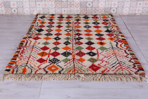 Colorful wool Azilal rug 5.4 FT X 6.7 FT