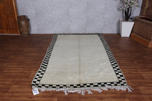 Moroccan Berber rug, Bordered rug, wool Azilal carpet, 5ft x 8.3ft