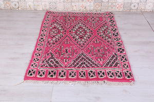 Moroccan Pink rug, All wool, 3.8ft x 5.8ft