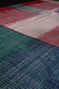 Handwoven Moroccan wool kilim, 6.3 FT X 9.2 FT