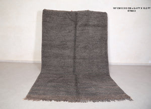 Moroccan solid Gray rug, Hand knotted, 6.4 ft x 10.2 ft