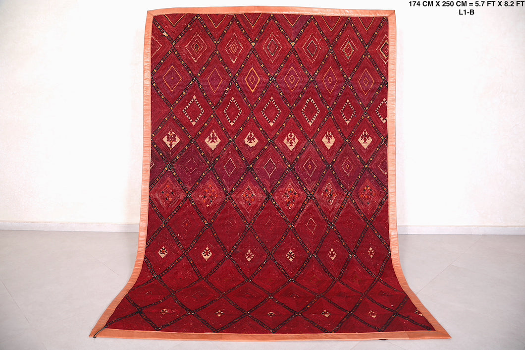 Fabulous Moroccan Straw Berber Wool Rug, (5.9ft x 8.9ft)