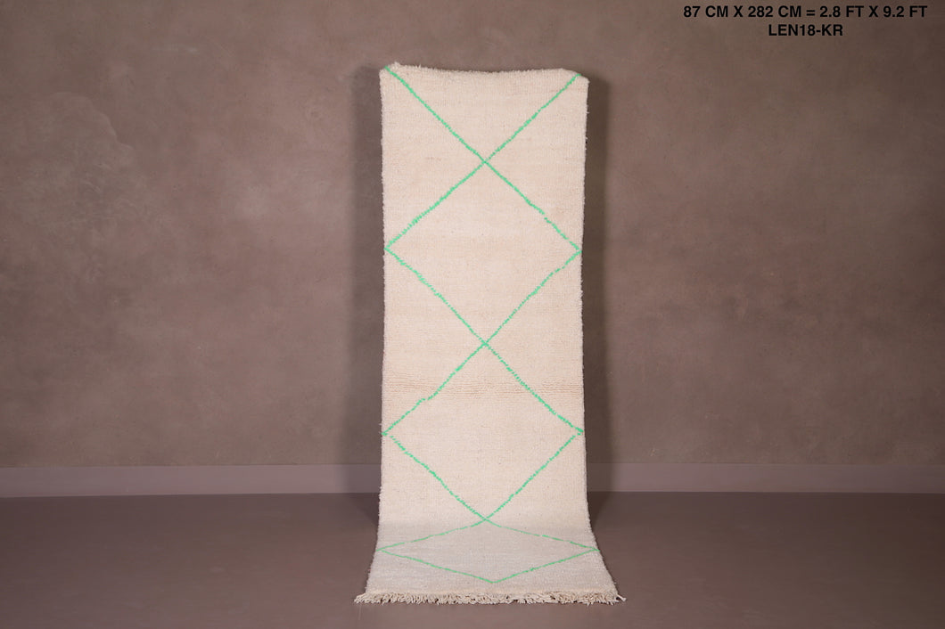 Moroccan hallway rug with mint green, 2.8ft x 9.2ft
