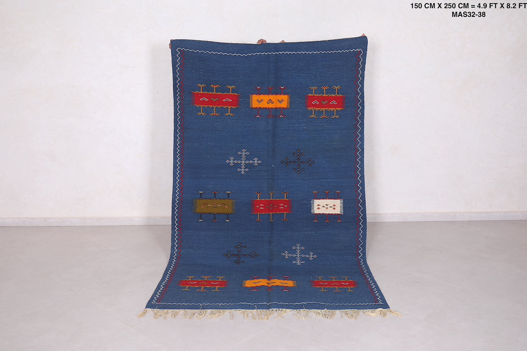 Handwoven blue rug 4'9