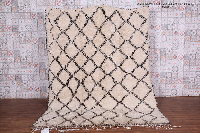 Lozenge berber authentic moroccan rug 6'4