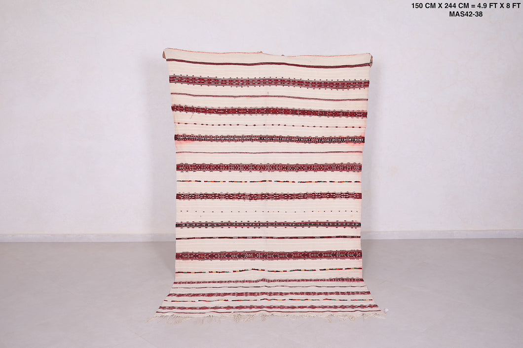 Berber kilim, Handira, Wedding blanket, 4'9