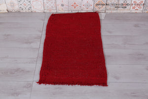 Boho rug, Red Moroccan berber carpets, 1.7 ft x 3.2 ft