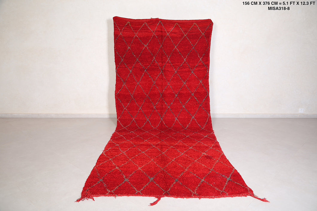 Runner red rug 5.1 FT X 12.3 FT