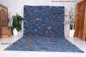 Handwoven Moroccan rug blue, 8.4 ft x 13.1 ft