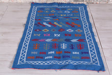 Moroccan blue kilim 3 FT X 4.7 FT