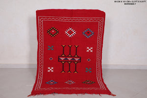 Red handwoven moroccan kilim, 3.2 FT X 4.9 FT