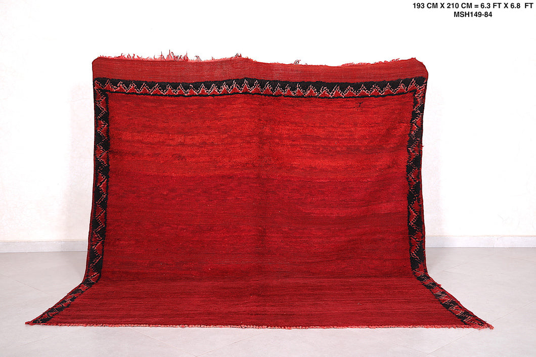 Moroccan rug red 6.3 FT X 6.8 FT