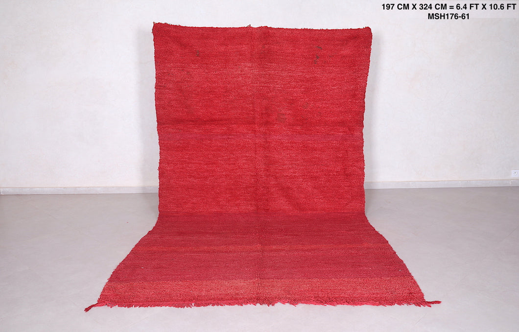 Wool beni ourain rug red 6.4 FT X 9.9 FT