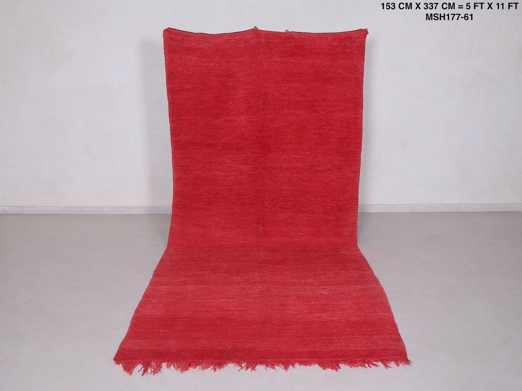 Moroccan rug red 5 FT X 11 FT