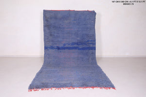 Solid Moroccan rug, Blue moroccan carpet, 6.1 FT X 12.1 FT