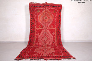 Runner Moroccan rug red, 5 FT X 11.3 FT