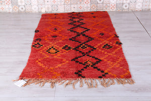 Moroccan rug red 4.2 FT X 7.7 FT