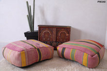 Wool pillow, Kilim pouf, Ottomans, Ottoman pouf,