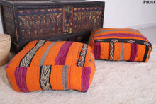 Orange pillow, Moroccan rug pouf, PW241