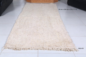 Hallway Solid beni ourain rug, 3ft x 7.7ft