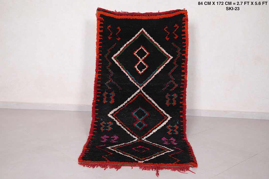 Black Moroccan carpet 2.7 FT X 5.6 FT, berber tribal rug