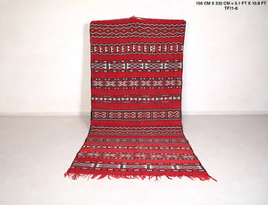 handwoven kilim rug, 5.1 ft x 10.8 ft, Red moroccan rug