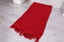 Red Moroccan Shag rug 1.7 FT X 3.2 FT