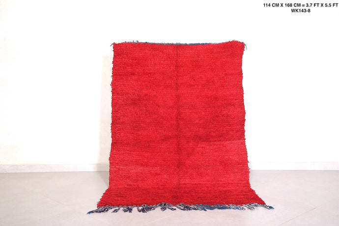 Red Solid berber rug, Beni ourain carpet, 3.7 ft x 5.5 ft