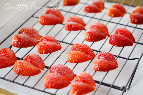 Heart Strawberries via OneLittleProject