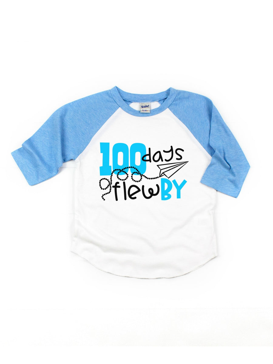100 Days Flew By 100th day of school unisex kids raglan