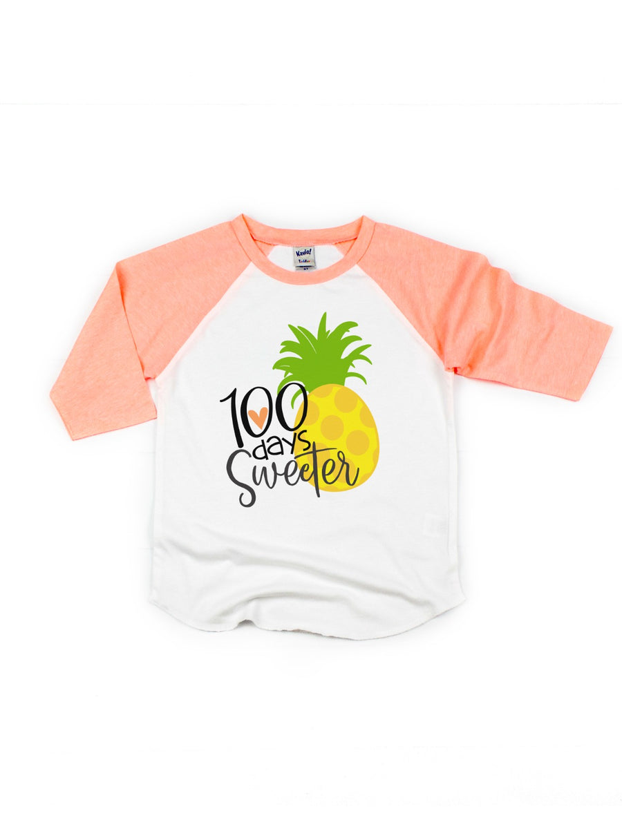 100 days sweeter pineapple 100th day of school shirt for girls