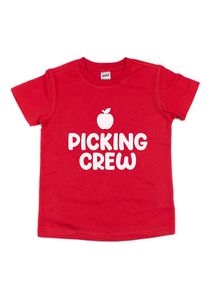 apple picking crew kids green shirt
